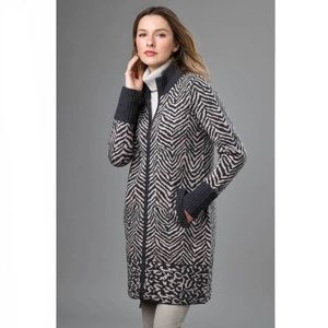 Kinross Cashmere Animal Print Zip Mock Cardigan